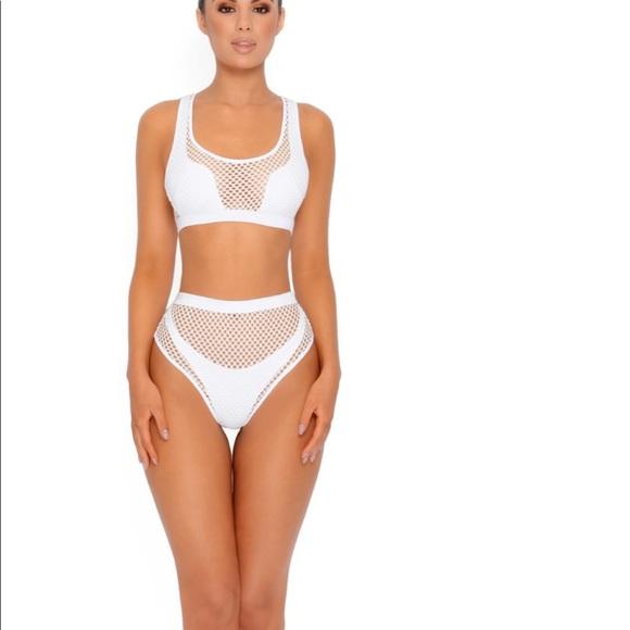d40490422 NWT OHPOLLY White Mesh High Waist Bikini